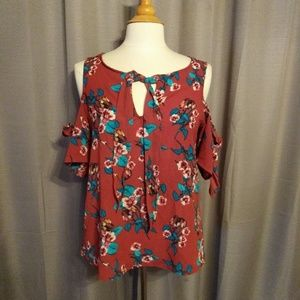 Lily white red floral blouse